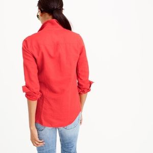 Red J. Crew perfect linen shirt size 12
